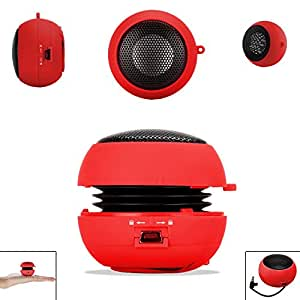Red 3.5mm Audio Jack Portable Plug and Play Hamburger Rechargeable Mini Wired Speaker For HTC WILDFIRE G8