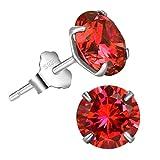 Bella.Vida Womens Sterling Silver January Birthstone Garnet Red Swarovski Elements Cz Diamond Stud Earrings 2.5cttw
