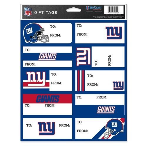 NFL New York Giants Gift Tags, Team Color, One Size