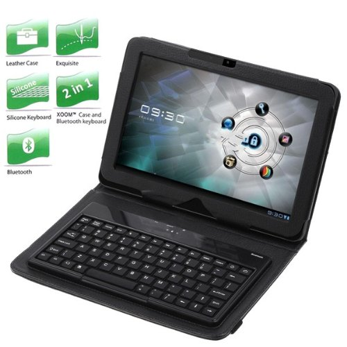 Wireless Bluetooth Keyboard + Leather Case Stand for Motorola Xoom Tablet from Electronic-Readers.com