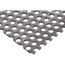 "A36 Tool Steel Perforated Sheet, Unpolished (Mill) Finish, 0.036"" Thickness, 20 Gauge, 12"" Width, 12"" Length, Staggered Holes, 0.1875"" Center to Center"