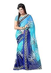 Bansy Fashion Turquoise Coloured Faux Georgette Printed Saree/Sari