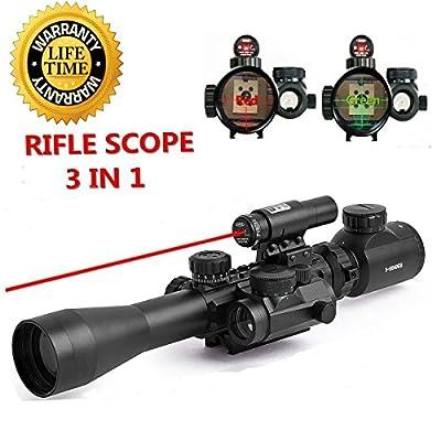 UpdatedFeyachi Riflescope 3-9X40EG Illuminated with Red Laser & Holographic Dot Sight + Rubber Eyeshade + Flip Up Lens Cover by Feyachi