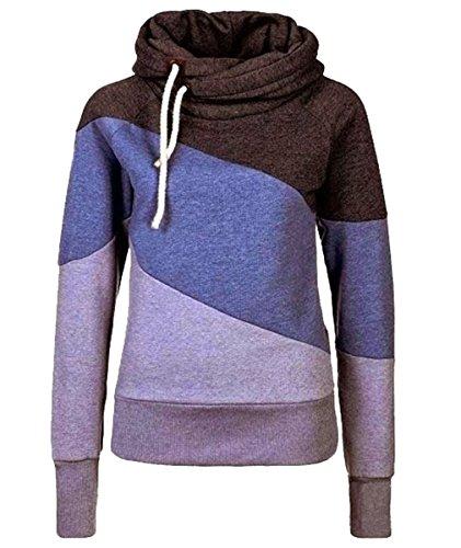 URqueen Women's Color Block Fleece Hooded Sweatshirt Hoodie Top Purple M