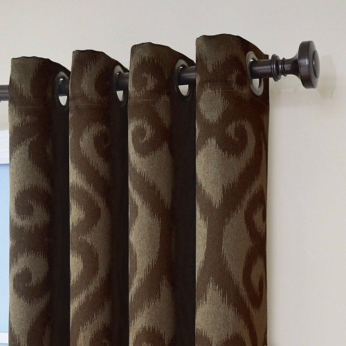 Eclipse Patricia Blackout Grommet Curtain Panel, 84-Inch, Chocolate (Chocolate Brown Curtains compare prices)