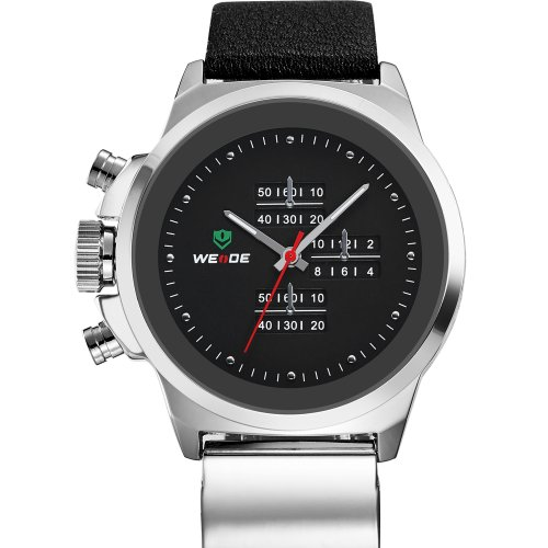 Weide Watch Men Famous Brand 3Atm Original Japan Miyota 2035 Quartz Movement New Genuine Soft Leather Watchband (White Black)