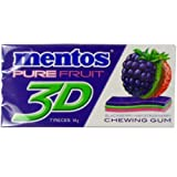 Mentos Chewing Gum Pure Fruit 3D Blackberry Kiwi Strawberry Flavor Net Wt 14 G (7 Pieces) X 3 Boxes