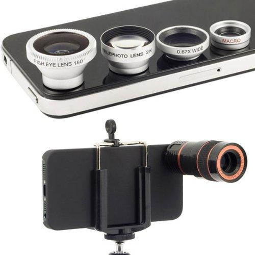4 In 1 Lens Kit Microspur Fisheye 8X Telescope For iPhone 5 5S