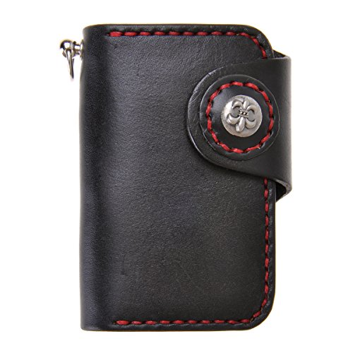zlyc-unisex-handmade-vegetable-tanned-leather-key-wallet-holder-card-case-keychain-black