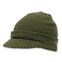 Decky Knit Jeep Watch Cap Visor Beanie (One Size, Olive Green)