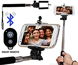 Selfie Stick Monopod With Bluetooth Remote Wireless Shutter Connectivity Compatible For Karbonn Fashion Eye -Black