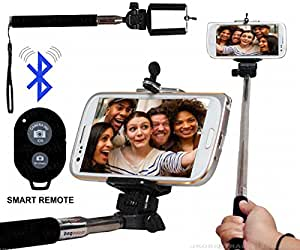Selfie Stick Monopod With Bluetooth Remote Wireless Shutter Connectivity Compatible For Reliance Jio LYF Water 4 -Black
