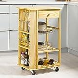 SoBuy® Carrello di servizio, Scaffale da cucina, Mensola angolare, Legno, FKW12-N(L50*L37*A86cm).IT