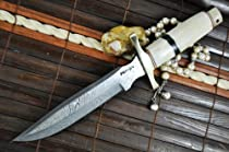 Sale - Handmade Damascus Hunting Knife - Bowie Knife - Mammoth Bone Handle