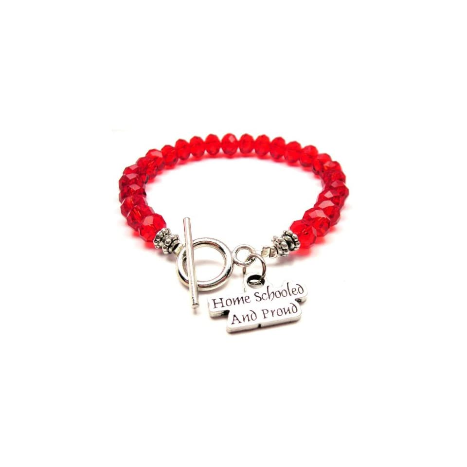 Home Schooled and Proud Red Crystal Beaded Toggle Bracelet ChubbyChicoCharms Jewelry