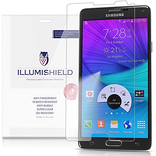 Illumishield - Samsung Galaxy Note 4 Screen Protector With Lifetime Replacement Warranty - Japanese Ultra Clear Hd Film With Anti-Bubble And Anti-Fingerprint - High Quality (Invisible) Lcd Shield - [3-Pack] Oem / Retail Packaging (Flat Oled)