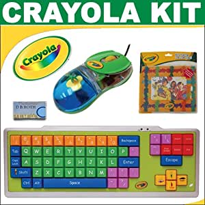 """CRAYOLA EZ Type Keyboard + CRAYOLA EZ Click Mouse With Floating Charm + CRAYOLA EZ Frame Mouse Pad + DB ROTH Cleaning Cloth """" Learning With Fun """" - Geat Gift For Kids"""