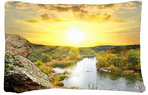 Microfiber Peach Standard Soft And Silky Decorative Pillow Case (20 * 26 Inch) - Nature Rivers Sunrises And Sunsets Scenery Rivers Nature Autumn front-866349