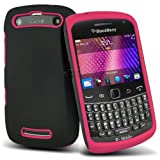 (Hot Pink) Blackberry 9360 Curve Mega Protective Hybrid Silicone Shock Proof Case Cover Skin & 10 LCD Screen Protector Guard By *Aventus*