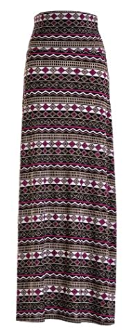 Chevron Floral Aztec Tribal Striped Printed Full Maxi Skirt Dress
