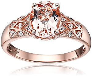 10k Rose Gold Morganite and Diamond Solitaire Engagement Ring (1/10cttw, H-I Color, I1-I2 Clarity), Size 7 from Amazon Collection