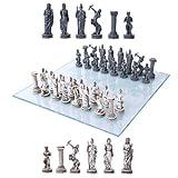 Ebros Greek Mythology Chess Set Olympian Gods And Demigods Zeus Hera Olympus Army Resin Chess Pieces With Glass Board Set
