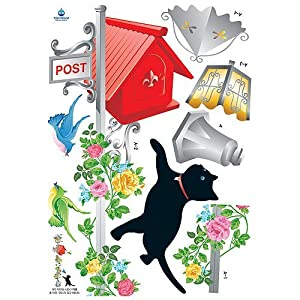 #!Cheap Reusable Decoration Wall Sticker Decal - Kitten/Birds with Vintage Lamp/Mailbox