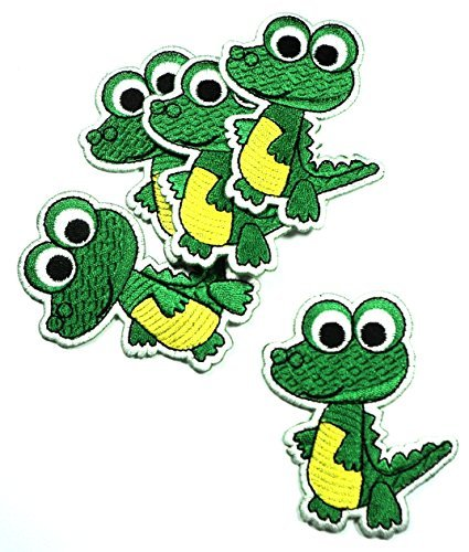 green-crocodile-animal-cartoon-kids-children-iron-on-patch-embroidered-sew-t-shirt-hat5-pieces