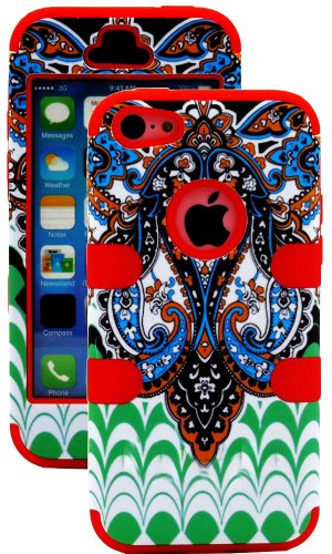 Mylife (Tm) Electric Crimson + Colorful Abstract Paisleys 3 Layer (Hybrid Flex Gel) Grip Case For New Apple Iphone 5C Touch Phone (External 2 Piece Full Body Defender Armor Rubberized Shell + Internal Gel Fit Silicone Flex Protector + Lifetime Waranty + S