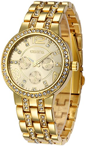Fanmis Geneva Alloy Band Quartz Watches Luxury Unisex Crystal Wrist Watch Gold (Gold Watch With Crystals compare prices)