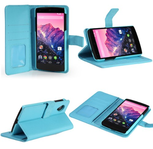 SUPCASE Google Nexus 5 Premium Wallet Leather Case (Light Blue) - Support Auto Sleep/Wake (Smart Cover Function), Hard Shell Case, Built-in Credit Card/ID Card Slot (Nexus 5 Light Blue Wallet Case compare prices)