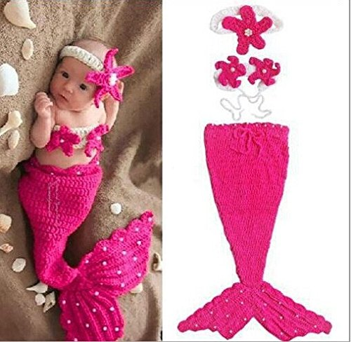 DAYAN Handgefertigte Baby-Mütze Mädchen Meerjungfrau Kostüm Crochet Knitting Props Cartoon nette Rose