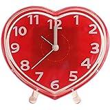 Quartz Heart Love Shape Alarm Clock (1h125) - Red - Analog Room Decor (Size 12.5x4.5x11 Cm) (1h000125)