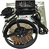 Dimmable Flexible White 3528 300 LED 16 Feet Light Strip with Double Sided Tape, 12 Volt Transformer and Inline Dimmer By Ledwholesalers, 2026wh-kit
