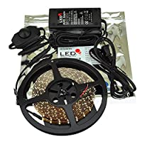 LEDwholesalers 5m (16.4ft) Single Color 300x3528SMD LED Strip Kit with Inline Dimmer and Power Supply, White, 2026WH+3318+3228