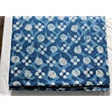 Handicraftofpinkcity Hand Block Print Cotton Fabric Indigo Dabu Print Cotton Fabric Garment Maiterial #04