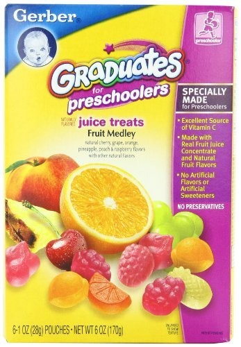 Gerber Graduates Juice Treats, Fruit Medley, 6-Ounce Pouches (Pack of 6) Kids, Infant, Child, Baby Products