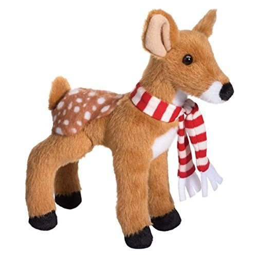 "Douglas Cuddle Toys 8"" Plush GLORY the FAWN w Striped Scarf (Holiday 2014) - 1"