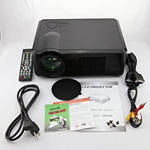 BEST NEW LED HD Home Theater Multimedia LCD Projector 1080P AV VGA HDMI SD USB TV S-Video PS3 WII US Stock (LED-33, Black)