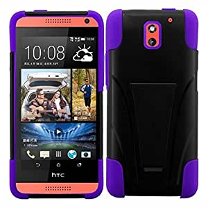 HR Wireless T-Stand Cover Case for HTC Desire 610 - Retail Packaging - Black/Purple