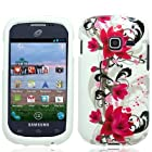 For Straight Talk Net10 SAMSUNG Galaxy Centura SCH-S738C Hard Red Flower White