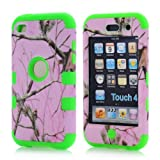 Super Spiderman Fashion Vivid Twig Branch Print New Dual Layer Protection ( PC + Silicone ) Hybrid Back Case Cover for Apple iPod Touch 4 4th Generation with Logo Cutout - Inner Green