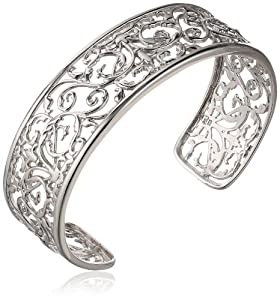 "Sterling Silver Filigree Cuff Bracelet, 7.25"" from PAJ, Inc"