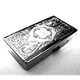 Victorian Style Cigarette Case Double Sided King & 100s Etched Pattern By Kasebi
