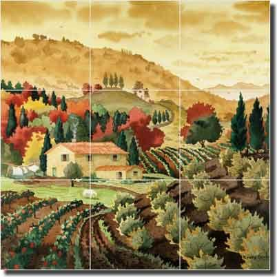 "Tuscan Serenity by Robin Wethe Altman - Tuscan Landscape Glass Tile Wall Floor Mural 18"" x 18"" Kitchen Shower Backsplash"