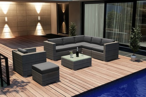 Harmonia Living Luxe Urbana 8 Piece Modern Wicker Sectional Set In Weathered Stone With Gray Sunbrella Cushions (Sku Hl-Urbnws-8Sect-Co)