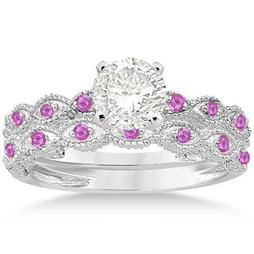 Antique Filigree Marquise Pink Sapphire Engagement Ring And Wedding Band Set 14K White Gold 0.36Ct