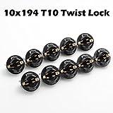 Partsam 10x T10 168 Twist Lock Wedge instrument Panel Dash Light Bulb Base Sockets