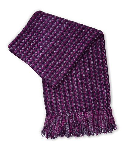 Jovi Home Spice Hand Woven Throw 50-Inch-By-60-Inch, Plum (Plum/Fuchsia/Charcoal)