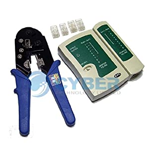 Network Crimper RJ45 Cable Tester with (50) RJ45 Connectors 3 in 1 Set